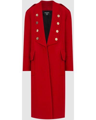 Красное шерстяное пальто Balmain