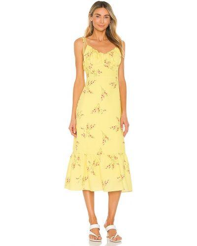 Желтое платье миди винтажное с подкладкой Line & Dot