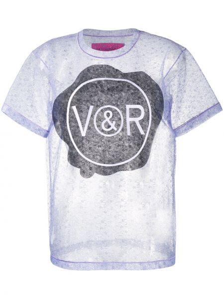 Синяя прямая ажурная футболка с люрексом Viktor & Rolf