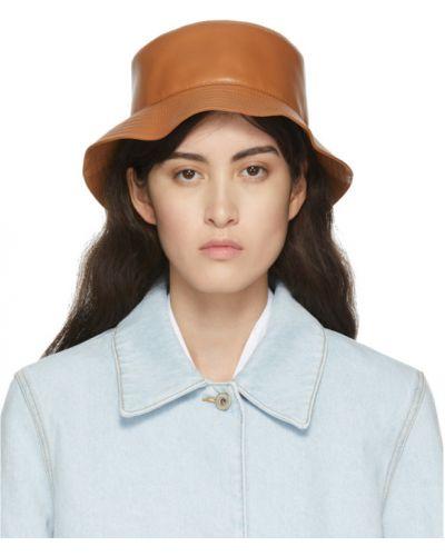 Кожаная бежевая шапка с подкладкой Loewe