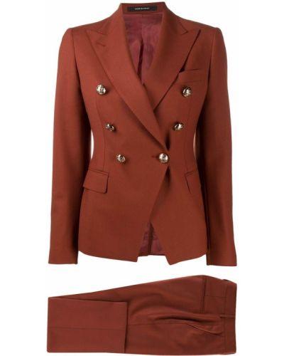 Brązowy kostium spodni garnitur dwurzędowy z kieszeniami Tagliatore