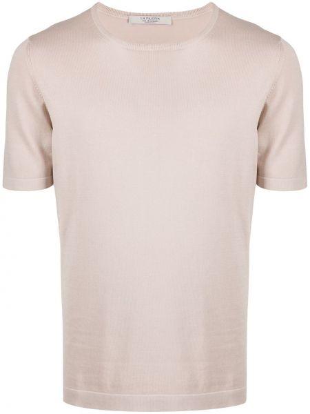 Бежевая прямая рубашка с короткими рукавами La Fileria For D'aniello