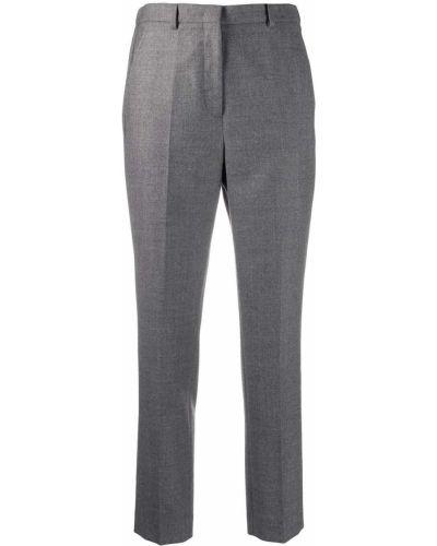Шерстяные с завышенной талией серые укороченные брюки Incotex