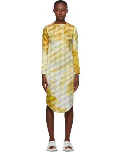 Sukienka długa z długimi rękawami - żółta Serapis