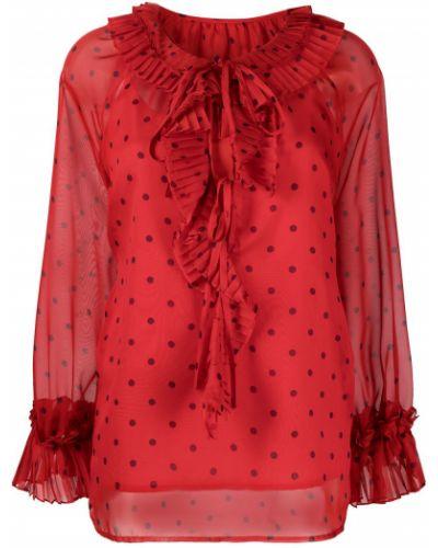 Красная блузка в горошек со вставками P.a.r.o.s.h.