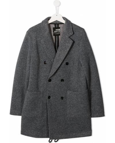 Серое шерстяное длинное пальто двубортное Paolo Pecora Kids