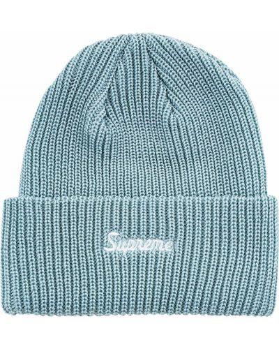 Niebieski kapelusz z akrylu z haftem Supreme