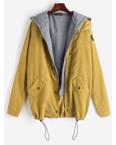 Куртка вельветовая горчичный Zaful