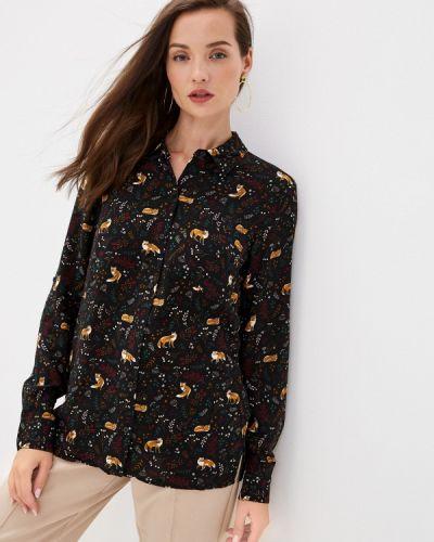 С рукавами черная блузка с длинным рукавом Zolla