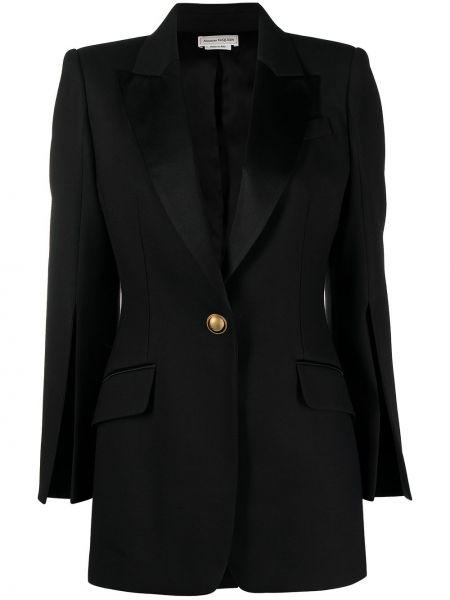 Черный приталенный удлиненный пиджак для полных Alexander Mcqueen