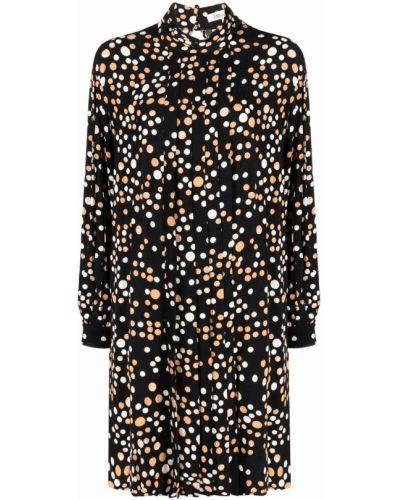 Czarna sukienka długa w grochy Dvf Diane Von Furstenberg