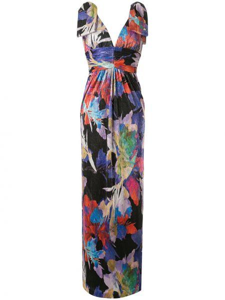 Платье макси с декольте с абстрактным принтом Rebecca Vallance