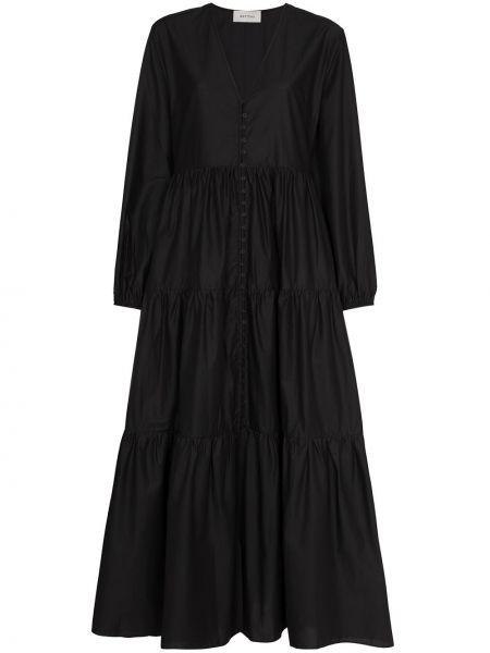 Прямое черное платье макси с длинными рукавами Matteau