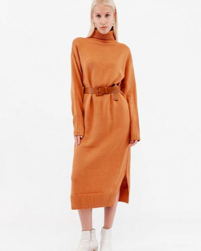 Оранжевое вязаное трикотажное платье Dorogobogato
