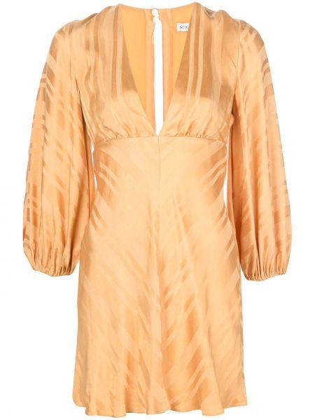 Желтое платье мини с V-образным вырезом на молнии узкого кроя Shona Joy