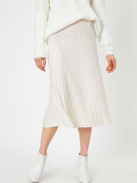 Плиссированная юбка белая весенняя Koton