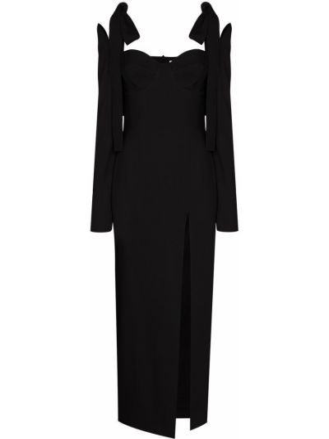 Шерстяное черное платье миди на бретелях с длинными рукавами Aleksandre Akhalkatsishvili