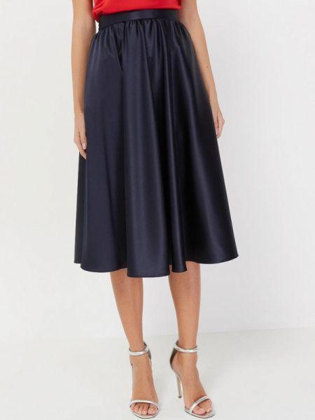 Шелковая синяя юбка свободного кроя Silk Me