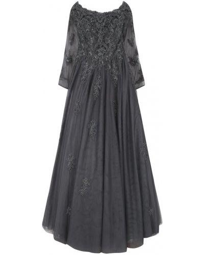 Вечернее платье с цветочным принтом с вышивкой приталенное Basix Black Label