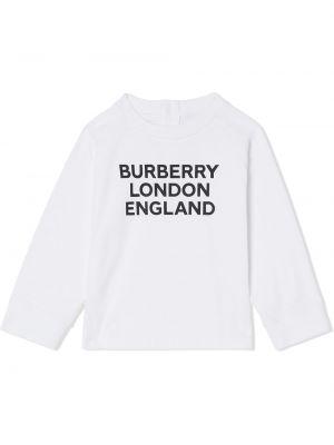 Белая хлопковая футболка с длинными рукавами Burberry Kids