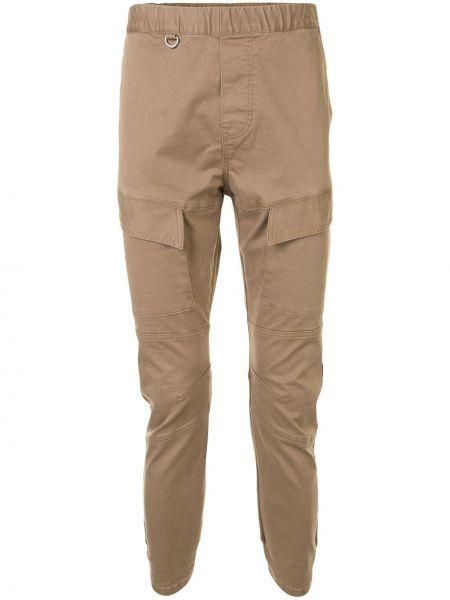 Хлопковые коричневые брюки с поясом узкого кроя Sophnet.
