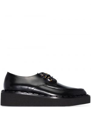 Ażurowy czarny buty brogsy z prawdziwej skóry na sznurowadłach Valentino Garavani