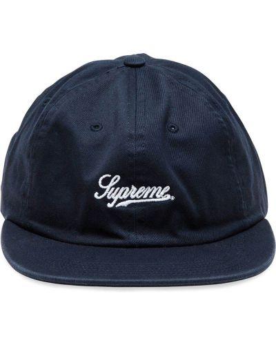 Синяя хлопковая кепка с вышивкой Supreme
