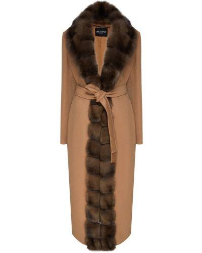 Пальто с капюшоном длинное бежевое Dreamfur