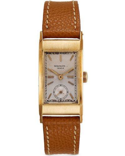 С ремешком кожаные часы механические золотые Patek Philippe