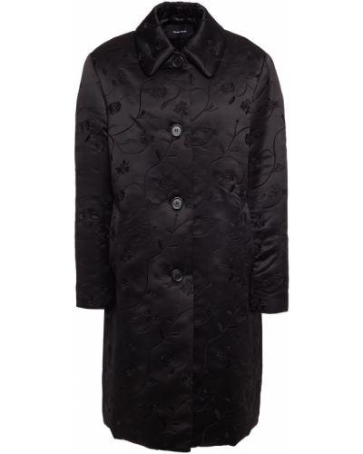 Czarny płaszcz z haftem Simone Rocha