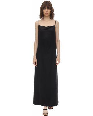 Satynowa czarna sukienka długa Aeryne