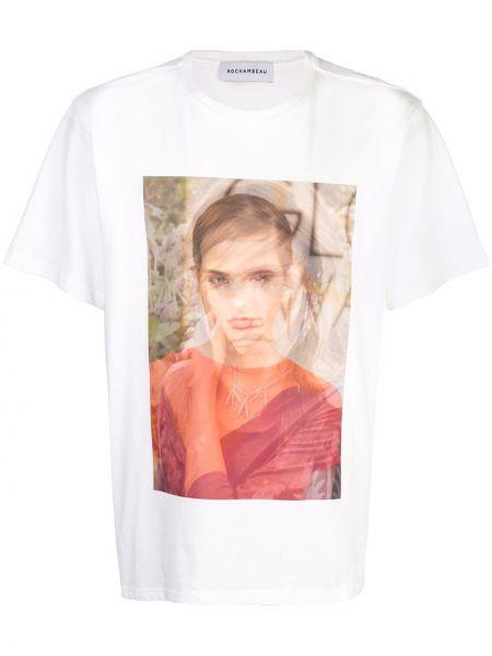 Biały t-shirt bawełniany z printem Rochambeau