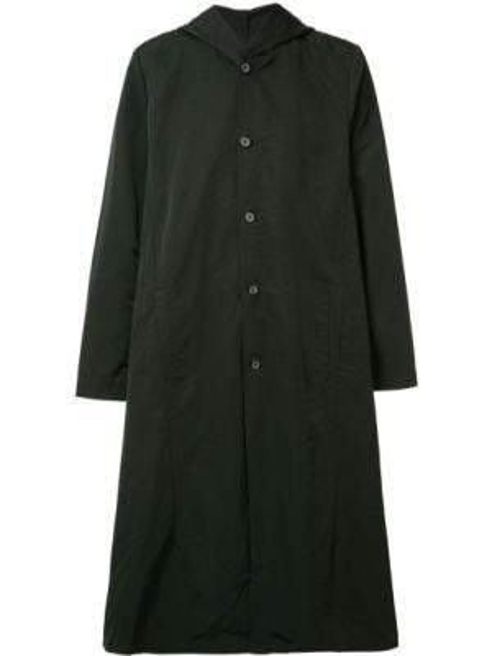 Хлопковое черное пальто на пуговицах с капюшоном Private Stock