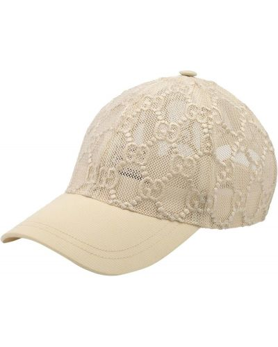 Biała czapka z siateczką bawełniana Gucci