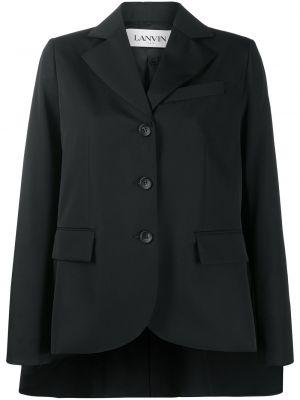 Шерстяной черный пиджак с карманами Lanvin