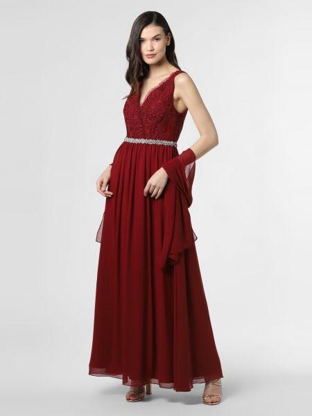 Czerwona sukienka wieczorowa z cekinami Mascara