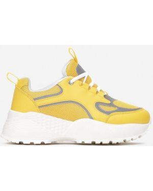 Żółte sneakersy materiałowe Multu