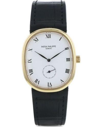 Черные кожаные часы механические с пряжкой Patek Philippe