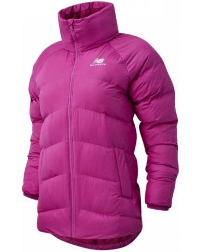 Утепленная розовая пуховая длинная куртка New Balance