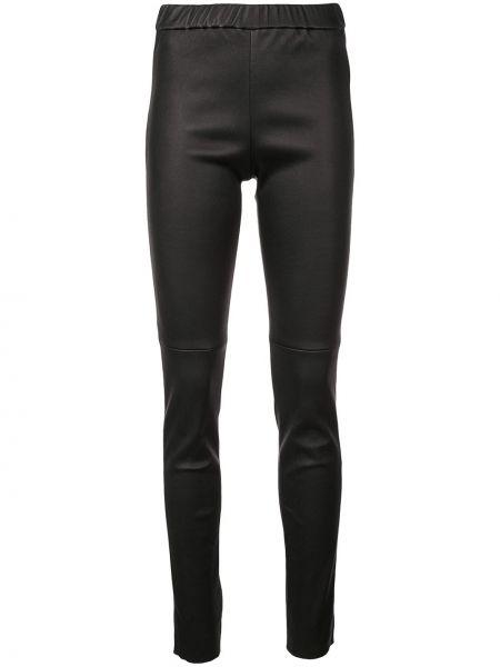 Czarne legginsy z wysokim stanem skorzane Sonia Rykiel
