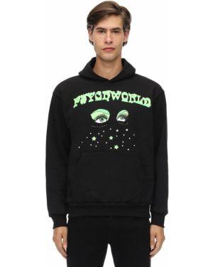 Prążkowana czarna bluza z kapturem Psychworld