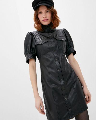 Кожаное черное платье The Kooples