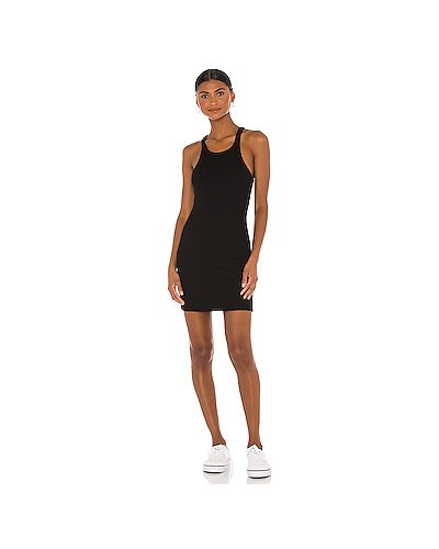 Черное шелковое платье в рубчик с подкладкой Lna
