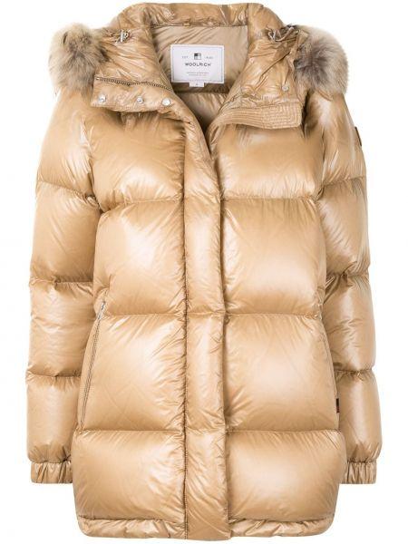 Коричневое длинное пальто с капюшоном из искусственного меха Woolrich