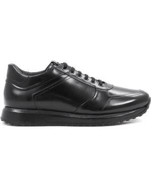 Кожаные черные кроссовки на толстой подошве на шнуровке Franceschetti