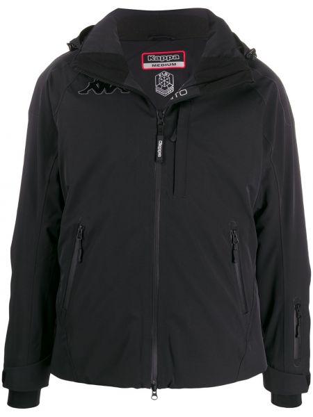 Куртка с капюшоном черная длинная Kappa