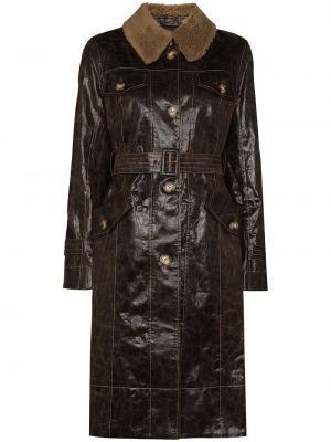 Коричневое пальто на пуговицах Rejina Pyo