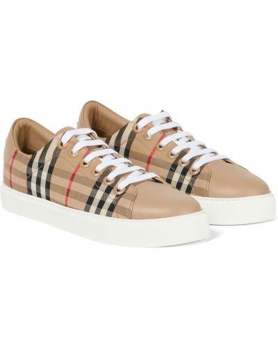 Кожаные кроссовки - бежевые Burberry