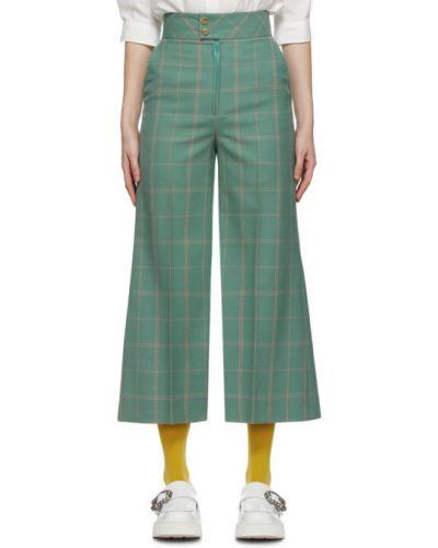 Rozbłysnął zielony jedwab spodnie z fałdami Gucci
