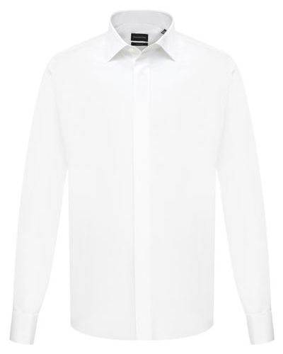 Шелковая белая рубашка Ermenegildo Zegna
